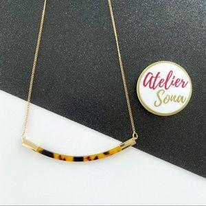 Acrylic Tortoise Shell Bar Necklace